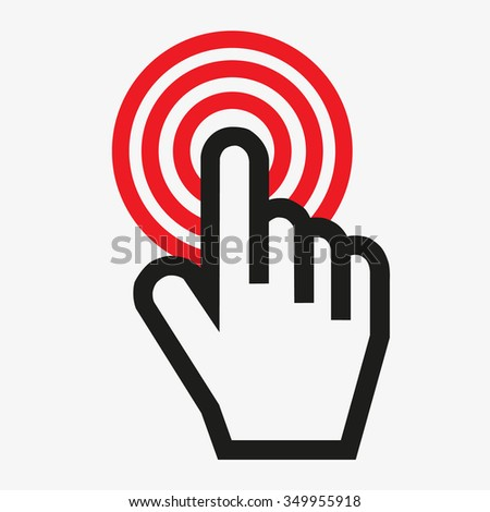 Computer hand cursor that makes choices and is aimed at a target - stock vector