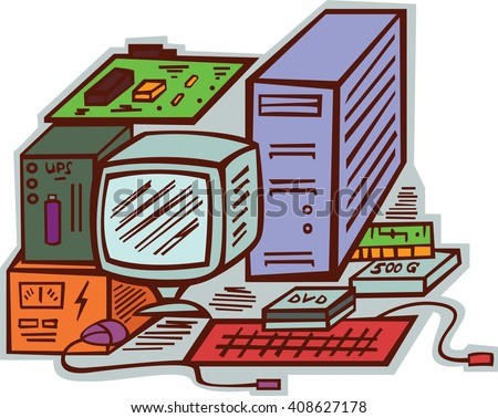 Computer Hardware Cartoon Illustration
