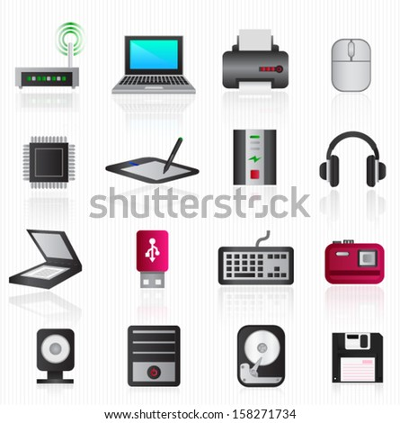 Computer hardware icons - stock vector