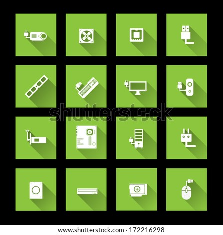 Computer hardware icons ( long shadow ) - stock vector
