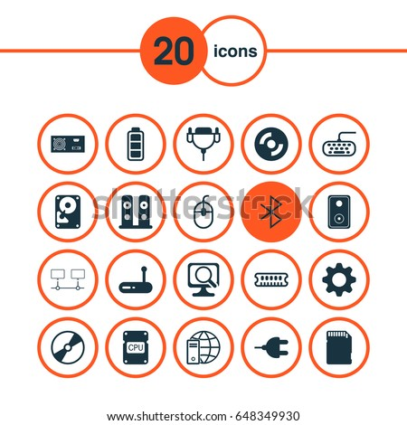 Computer Hardware Icons Set Collection Loudspeakers Stock Vector