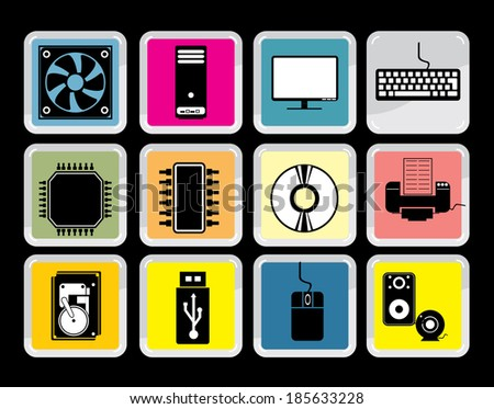 Computer Hardware Icons, vector - stock vector