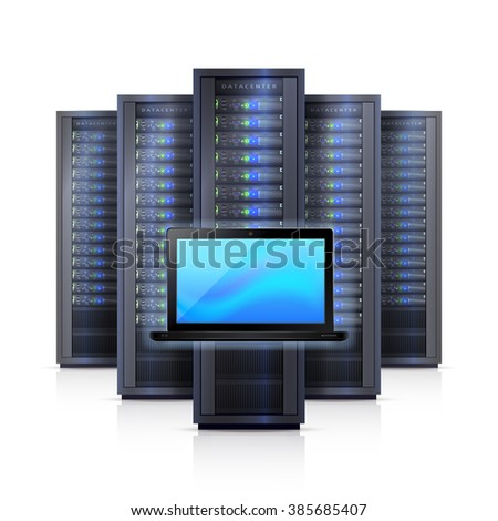 Computer hardware system elements  with black server racks framework and laptop on white background realistic vector illustration