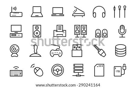 Computer Hardware Vector Line Icons 2 - stock vector