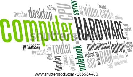 Computer Hardware Word Cloud Bubble Tag Tree Vector - stock vector