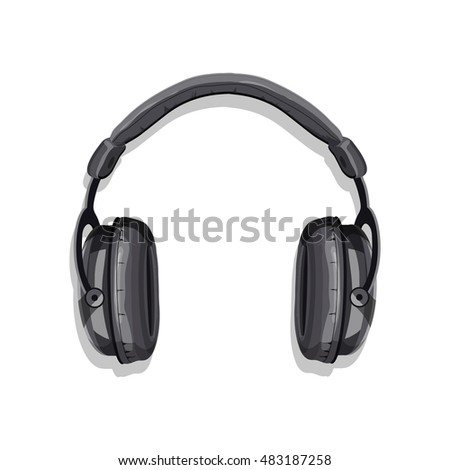 Computer headphones.Realistic vector image isolated on a white background