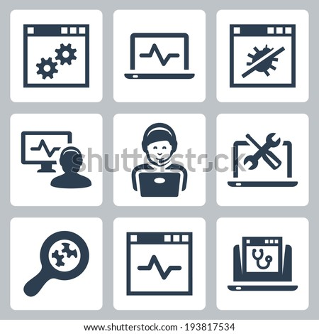 Computer help-line vector icons set - stock vector