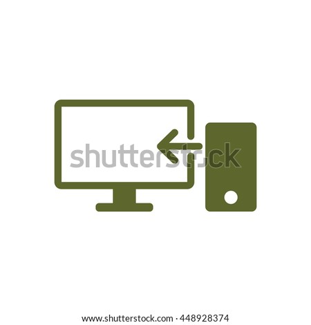 computer icon, flat design style, vector