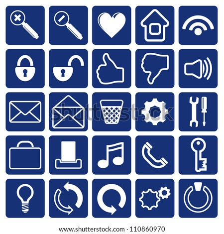 Computer Icon on Square Blue and White Button Collection Original Illustration