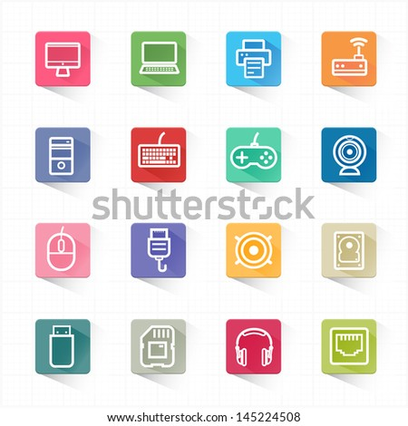 Computer icon set and white background - stock vector
