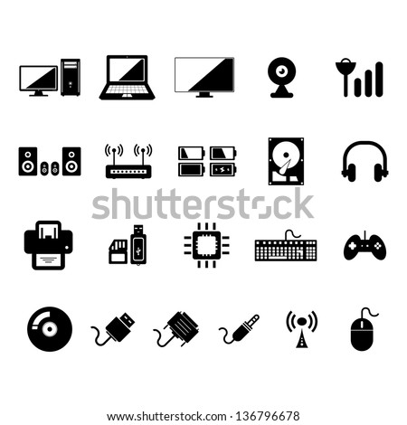 Computer Icon set Black and White - stock vector