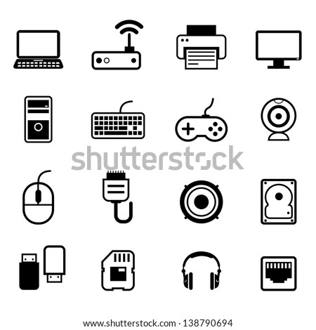 Computer Icon Set Vector - stock vector