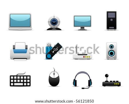 Computer Icon Set Vector - stock vector