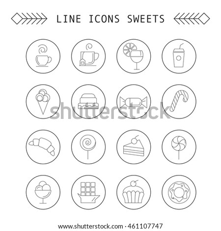Computer icon set with different sweets