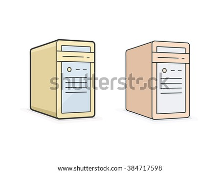 Computer icon. Vector icon of PC workstation computer. Linear style vector illustration - stock vector