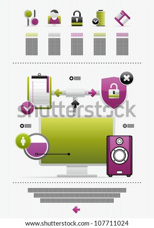 computer icons and infographics - stock vector
