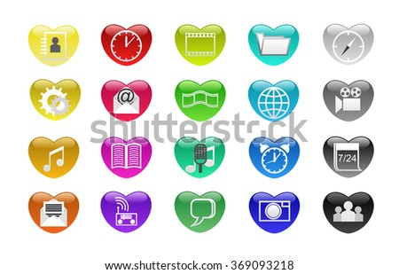 Computer icons as the heart are shown in the image. - stock vector