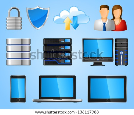 Computer icons, EPS 10, contains transparency - stock vector