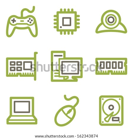 Computer icons, green line contour series - stock vector