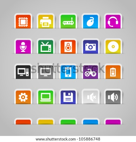 Computer icons on colorful paper stickers. Image contains transparency in shadows - you can put it on every surface. 10 EPS - stock vector