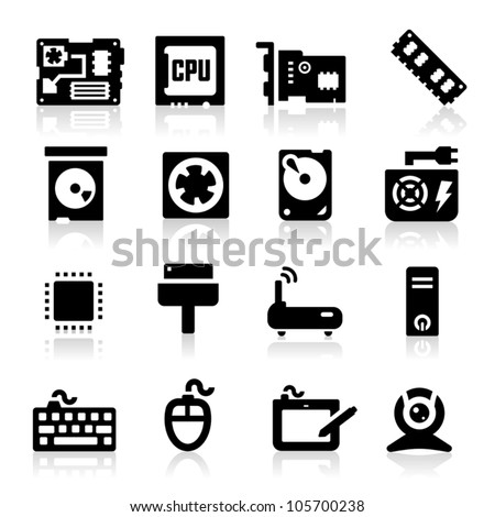 Computer icons set - stock vector