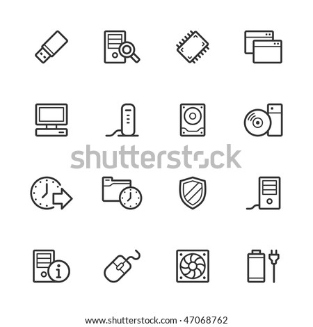 Computer icons. Strokes have not been expanded for maximum editability.