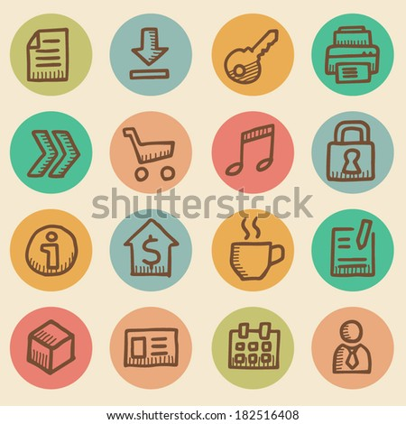 Computer icons vintage drawings set isolated - stock vector
