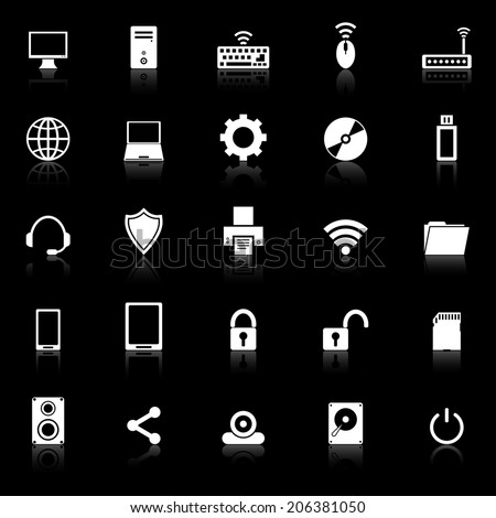 Computer icons with reflect on black background, stock vector