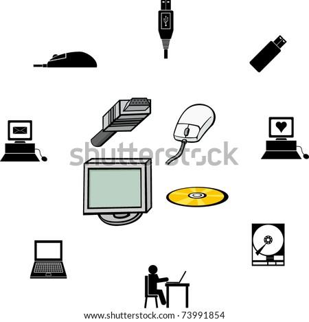 computer illustrations and symbols set 2 - stock vector
