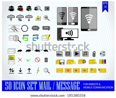 computer internet communication mail message icon for mobile and web