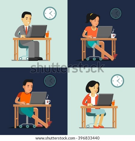 Computer internet work concept with people in office and home. Young man and woman sitting at the computer desk with laptop and working - stock vector