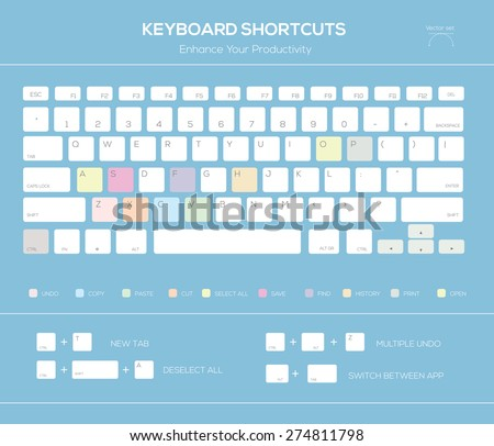 Computer keyboard infographic shortcuts. Vector illustration  - stock vector
