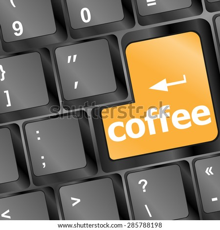 computer keyboard keys with coffee break button vector