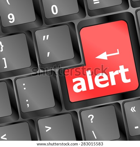 Computer keyboard with attention key alert - business background, vector