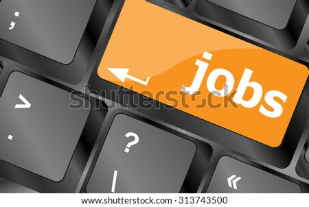 Computer keyboard with JOB enter key - business concept, vector illustration - stock vector