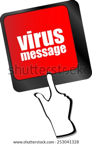Computer keyboard with virus message key - stock vector
