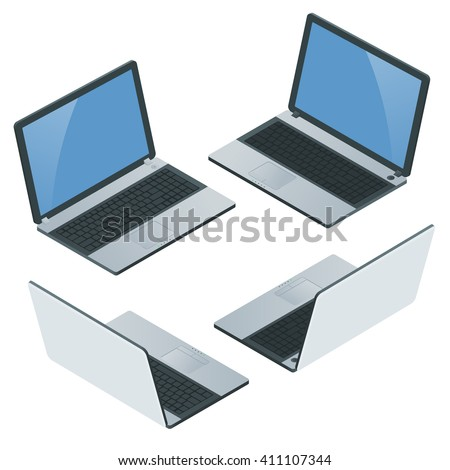 Computer,  laptop isolated, notebook, ipad, tablet, laptop icon, laptop screen,   Laptop Vector. Laptop computer. Laptop mobility. Laptop isometric. Laptop blank screen. Laptop on white background. - stock vector