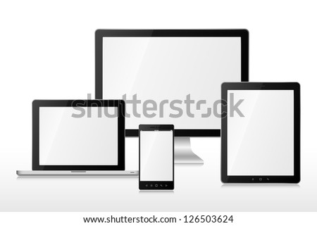 Computer, laptop, tablet and mobile phone. EPS 10 vector illustration. Used transparency layers of reflection effect - stock vector