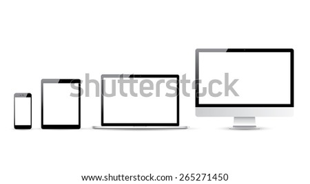 Computer, laptop, tablet and smartphone vector illustrations. - stock vector