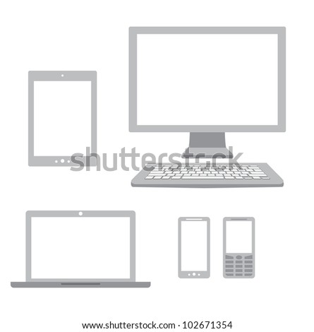 Computer, laptop, tablet, phone and smartphone icons. - stock vector