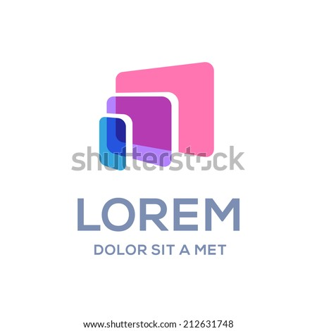 Computer laptop tablet phone logo icon design template. Vector color sign. - stock vector