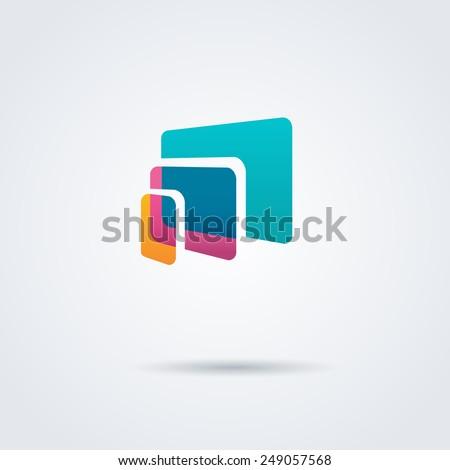 Computer laptop tablet phone logo icon design template. Vector color sign.  - stock vector