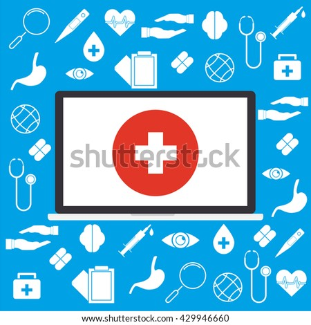 Computer laptop with white cross on red circle and on medical sign background concept of telemedicine and telehealth technology. Vector illustration cloud internet of things technology trend. - stock vector