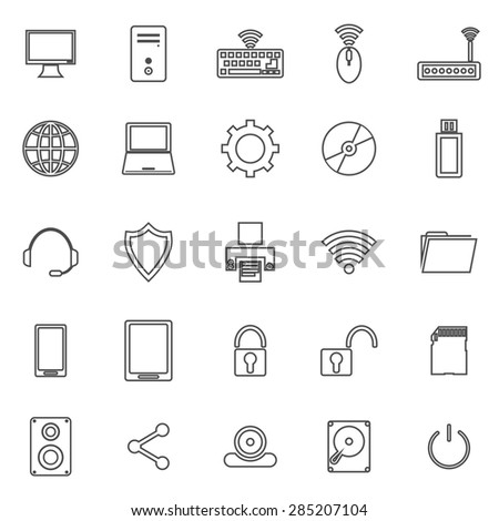 Computer line icons on white background, stock vector - stock vector