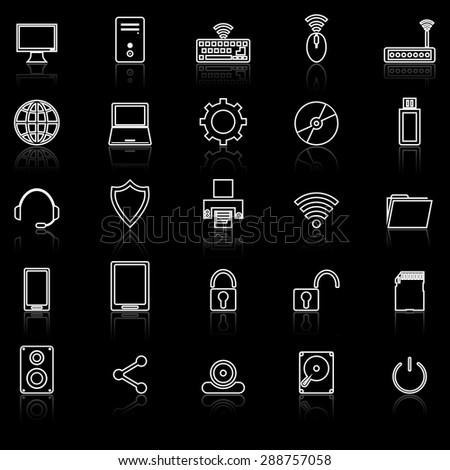 Computer line icons with reflect on black, stock vector