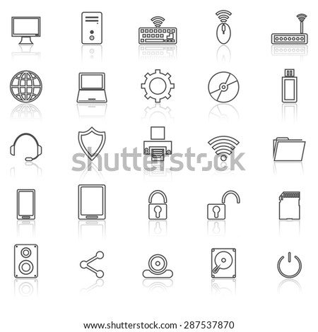 Computer line icons with reflect on white, stock vector