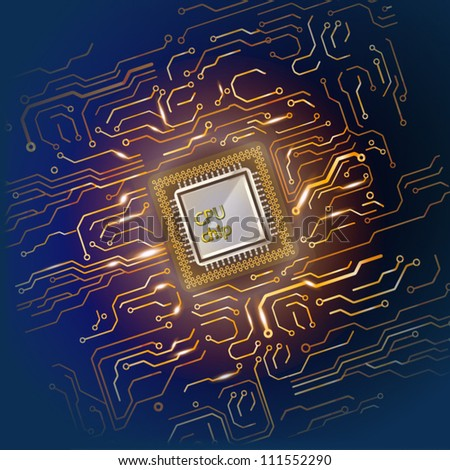 Computer microcircuit. Illustration on dark background for design - stock vector