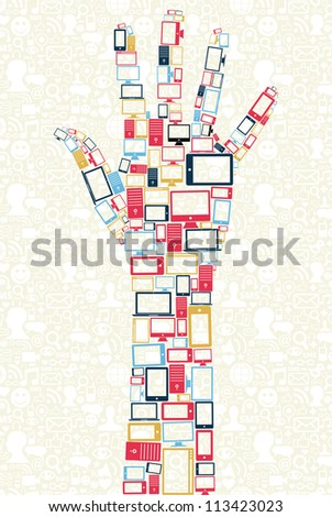Computer, mobile phone and tablet colors icons in human hand shape over social media backgroun. Vector illustration layered for easy manipulation and custom coloring.