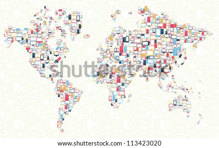 Computer, mobile phone and tablet colors icons in world shape over social media background. Vector illustration layered for easy manipulation and custom coloring. - stock vector