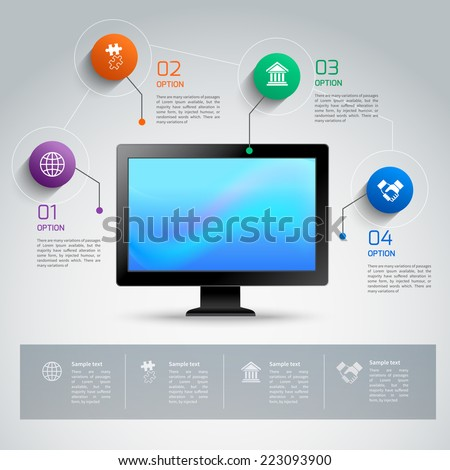 Computer monitor 3d infographic template with business options buttons vector illustration - stock vector